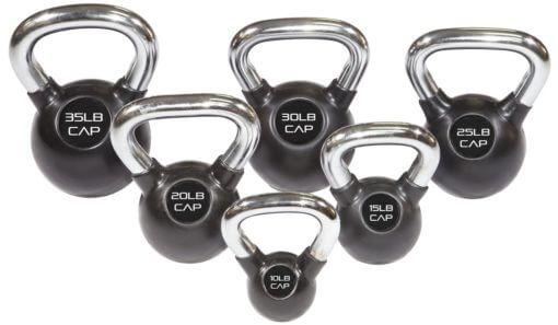 Rubber Coated Kettlebell with Chrome Handle - Premier Fitness Service
